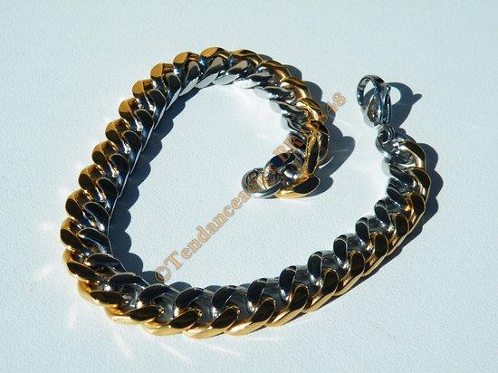 Bracelet 22 cm Fin Duo Argenté Plaqué Or Maille Gourmette 8 mm Pur Acier Inoxydable