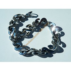Bracelet Gourmette 23 cm Pur Acier Inoxydable Brillant 15 $ Bling Bling Hip Hop 11 mm Rap