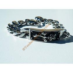 Bracelet 21 cm Maille Gourmette 12 mm Plaque Rose Skull Amour Mort Goth Rock Acier Inoxydable