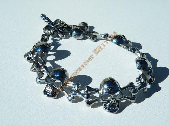 Bracelet 6 Tetes de Mort Crane Skull Goth Biker Rock Argenté 15 mm Acier Inoxydable 20 cm
