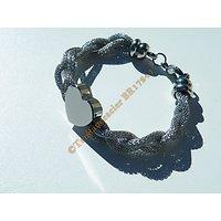 Bracelet Femme 19 cm Acier Inoxydable Trio Serpentine 7 mm Tréssé Torsadé Grand Coeur Argenté