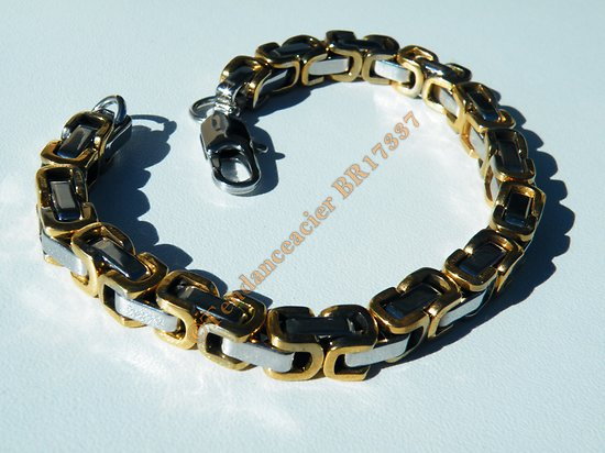 Bracelet 22 cm Pur Acier Inoxydable Osselet 3 Dimensions Duo Doré Plaqué Or Argenté 7 mm Original