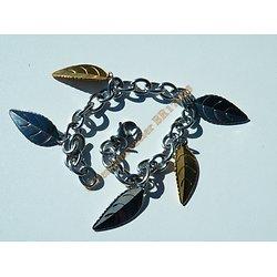 Bracelet Femme Pur Acier Inoxydable 5 Feuilles Argenté et Doré Plaqué Or 22 cm Fashion
