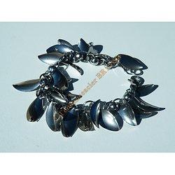 Bracelet Femme Pur Acier Inoxydable 26 Feuilles Argenté 20 mm Palmier 20 cm