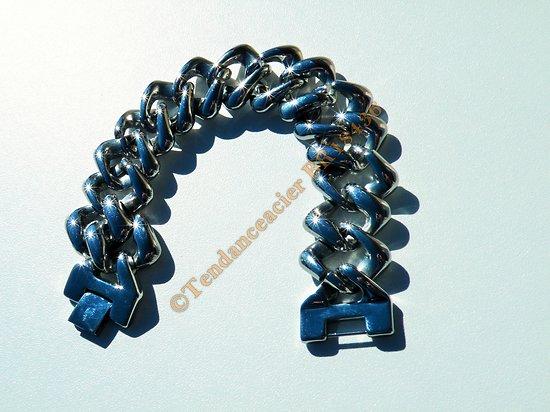 Bracelet Homme 22 cm Pur Acier Inoxydable Maille Gourmette Extra Large 22 mm Hip Hop Rare