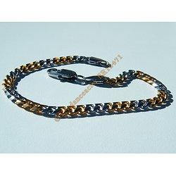 Bracelet 23 cm Fin Duo Argenté Plaqué Or Maille gourmette 4 à 5 mm Pur Acier Inoxydable