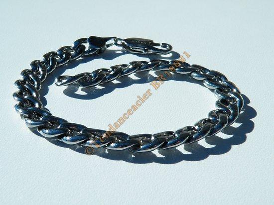 Bracelet Mixte 21 cm Pur Acier Inoxydable Argenté Maille Gourmette Large 7 mm