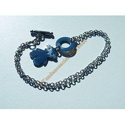 Bracelet 20 cm Pur Acier Inoxydable Argenté Ourson Nounours Enfant Femme Fille