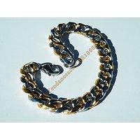 Bracelet 2 Tons 22 cm Argenté Plaqué Or Maille Gourmette Large 11 à 12 mm Pur Acier Inoxydable