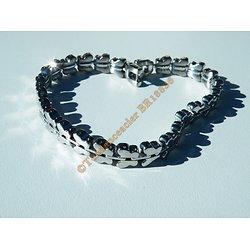 Bracelet Elegance Gourmette 22 cm Maille Papillon 8 mm Pur Acier Inoxydable Argenté