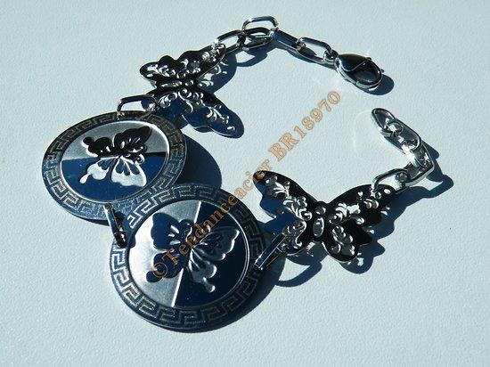 Bracelet Femme 18 cm Argenté 4 Papillons Gravure Laser Breloques Celte Tribal Pur Acier Inoxydable
