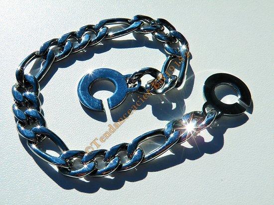 Bracelet Gourmette 23 cm Pur Acier Inoxydable Maille Figaro 3 + 1 Large 9 mm Argenté