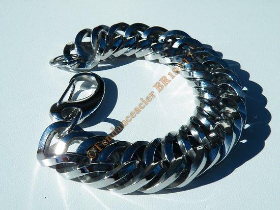 Bracelet Massif Anaconda 24 cm Acier Inoxydable Maille Gourmette Fantaisie Arrondie Rare Méga Large 20 mm