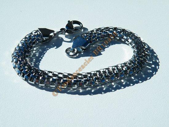 Bracelet Argenté Pur Acier Inoxydable Serpentine Large 8 mm 3 Dimensions 20 cm