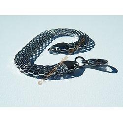 Bracelet Argenté Pur Acier Inoxydable Serpentine Plate 8 mm 3 Dimensions 19 cm