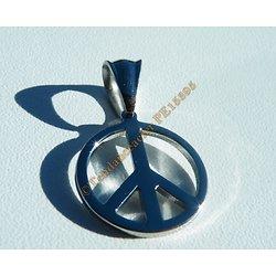 Pendentif Pur Acier Inoxydable Peace And Love Paix et Amour Hippies Croix de Néron