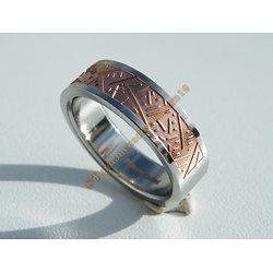Bague Acier Inoxydable Argenté Motif Tribal Bronze RnB 6 mm