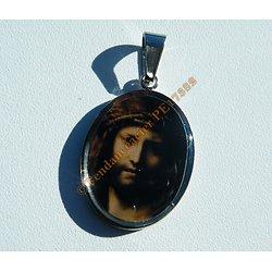 Pendentif Pur Acier Inoxydable Médaille Ovale Portrait Jésus Christ Jesus De Nazareth Dieu Religion