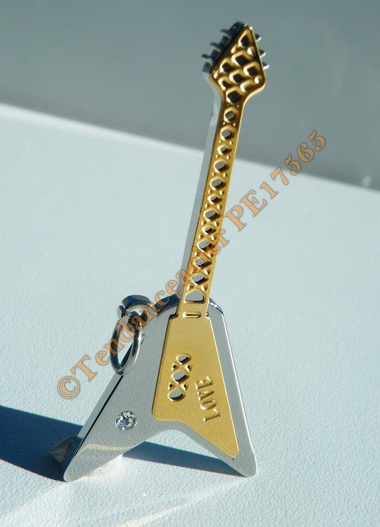 Pendentif Guitare Instrument Musique Pur Acier Inoxydable Argenté Plaqué Or Love Amour 1 Zirconia Strass
