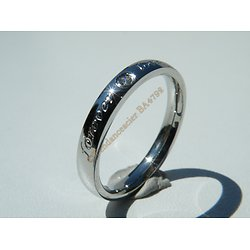 Bague Alliance Acier Inoxydable Forever Love Strass Saint Valentin Amour 3 mm