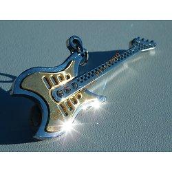 Pendentif Guitare Musique Acier Inoxydable Argenté Doré Plaqué Or 3 Zirconias Strass Rock 57 mm