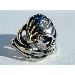 Bague Acier Inoxydable Chevaliere Skull Tete de Mort 1 Diamant Cubic Zirconium Cz Zc Sertie Crane Goth Emo Hard
