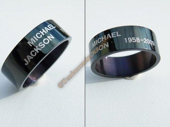 Bague Acier Inoxydable Hommage Michael Jackson MJ Noire Roi du Pop