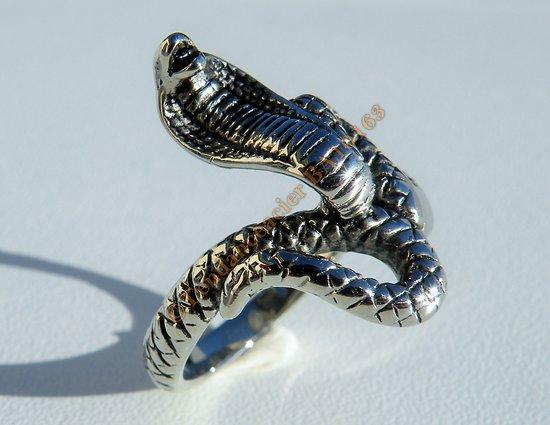 Bague Pur Acier Inoxydable Chevalière Skull Tete de Serpent Snake Cobra 3 Dimensions Argenté