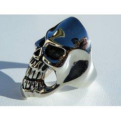 Bague Pur Acier Inoxydable Chevalière Skull Crane Tete de Mort Large 37 mm Biker Argenté Emo Punk