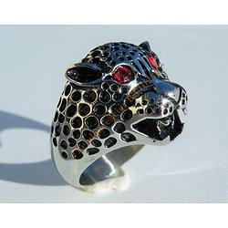 Bague Acier Inoxydable Chevalière Skull Tete de Tigre Lynx Puma Léopard Félin 2 Diamant Strass Zirconium Rouge