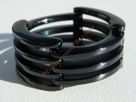 Bague Acier Inoxydable Noire Carbone Brillante Pliable Noeud Papillon 7 Rangs Large 10 mm Rare Original Nouveau Mixte