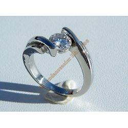 Bague Alliance Pur Acier Inoxydable Argenté Sertie Solitaire Cubic Zirconium Mariage Saint Valentin Love Amour Femme