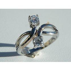 Bague Alliance Pur Acier Inoxydable Argenté Sertie Double Solitaire 2 Cubic Zirconium Mariage Saint Valentin Love Amour Femme