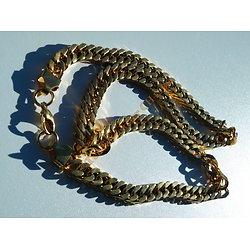 Chaine Collier Long 63 cm Pur Acier Inoxydable Maille Gourmette 9 mm Doré Plaqué Or