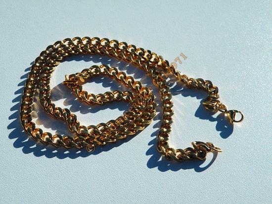 Chaine Collier Long 60 cm Pur Acier Inoxydable Maille Gourmette 6 mm Doré Plaqué Or