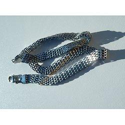 Chaine Collier Ras De Cou 45 cm Pur Acier Inoxydable Cote de Maille Serpentine 8 mm Argenté