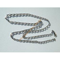 Chaine Collier Ras De Cou 60 cm Pur Acier Inoxydable Maille Rectangle 2 mm Argenté