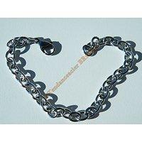 Bracelet 20 cm Ajustable Argenté Pur Acier Inoxydable Maillon 6 mm Idéal Charms Personnalisable