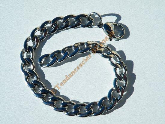 Bracelet Argenté 22 cm Ajustable Pur Acier Inoxydable Maille Gourmette 8 à 9 mm