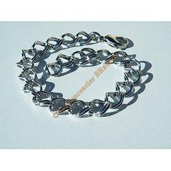 Bracelet Argenté 21 cm Ajustable Pur Acier Inoxydable Duo Anneaux Torsadés 9 mm