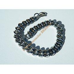 Bracelet 21 cm Argenté Silver Pur Acier Inoxydable Maille Gourmette 9 mm