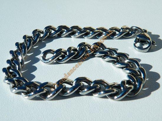 Bracelet 21 cm Argenté Silver Pur Acier Inoxydable Maille Gourmette 7 mm