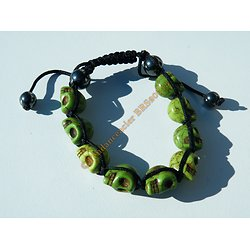 Bracelet Hématite Tibetain Shamballa Ajustable 9 Skull Tetes de Mort Vert Moutarde Chance