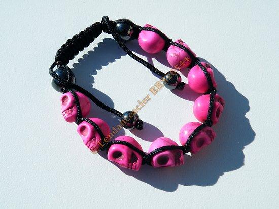 Bracelet Hématite Tibetain Shamballa Ajustable 9 Skull Tetes de Mort Rose Fluo Chance Top