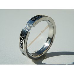 Bague Alliance Acier Inoxydable Tribal Celte Zirconia Diam's