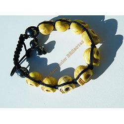 Bracelet Hématite Tibetain Shamballa Ajustable 9 Skull Tetes de Mort Jaune Porte Bonheur