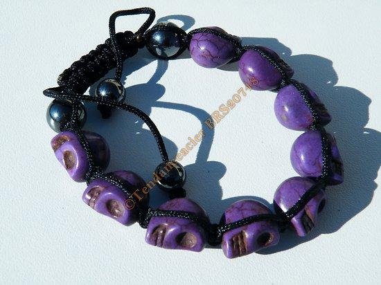 Bracelet Hématite Tibetain Shamballa Ajustable 9 Skull Tete de Mort Violet Fashion Victim