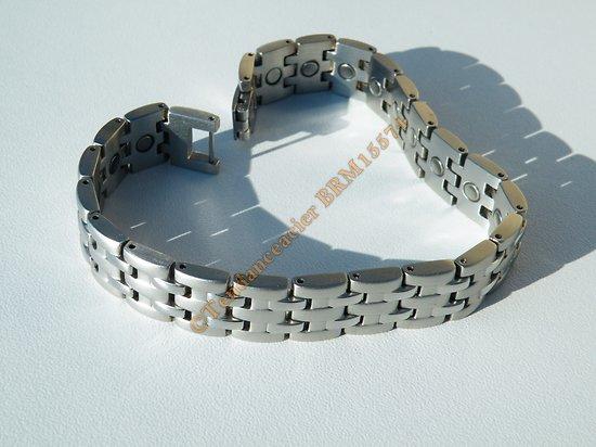 Bracelet Argenté Gourmette Magnétothérapie 5 Rangs Pur Acier Inoxydable 22 Aimants