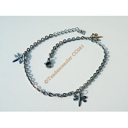 Chaine De Cheville Bracelet Pur Acier Inoxydable 23 cm Triple Papillons Argenté Mode