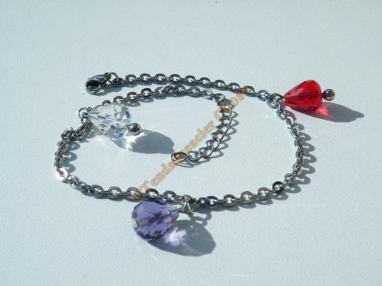 Chaine De Cheville Bracelet Acier Inox 3 Toupies Violet Rouge Transparent Argenté Mode